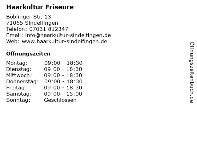 Haarkultur Friseure in Sindelfingen: Adresse und Öffnungszeiten