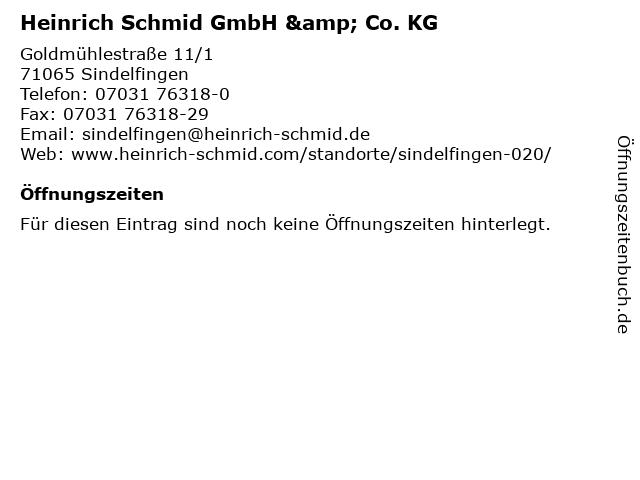 Heinrich Schmid GmbH & Co. KG in Sindelfingen: Adresse und Öffnungszeiten