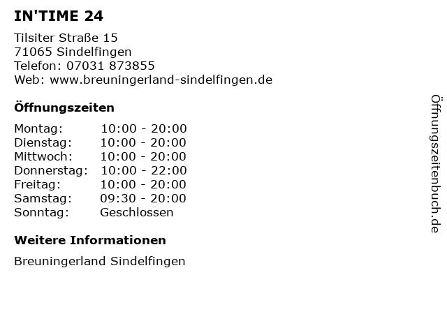 IN'TIME 24 in Sindelfingen: Adresse und Öffnungszeiten