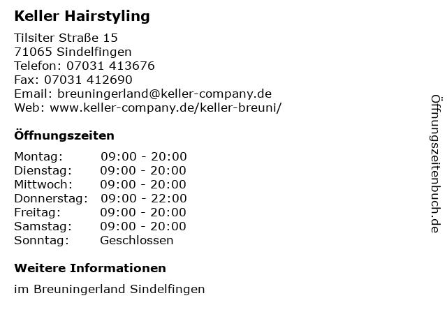 Keller Hairstyling in Sindelfingen: Adresse und Öffnungszeiten