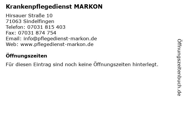 Krankenpflegedienst MARKON in Sindelfingen: Adresse und Öffnungszeiten