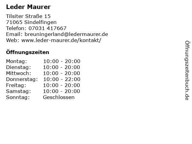 Leder Maurer in Sindelfingen: Adresse und Öffnungszeiten