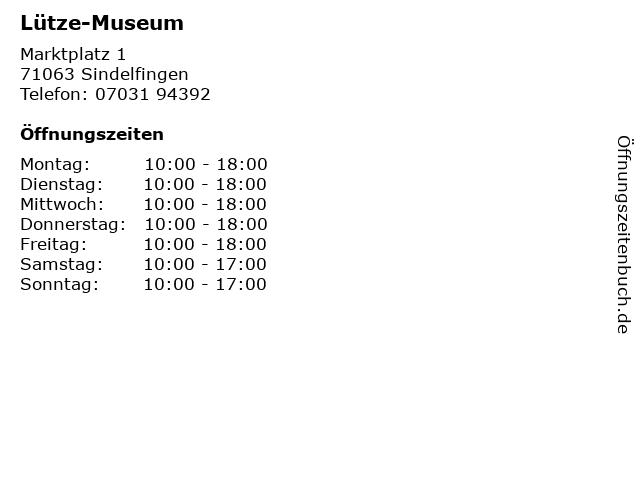 Lütze-Museum in Sindelfingen: Adresse und Öffnungszeiten