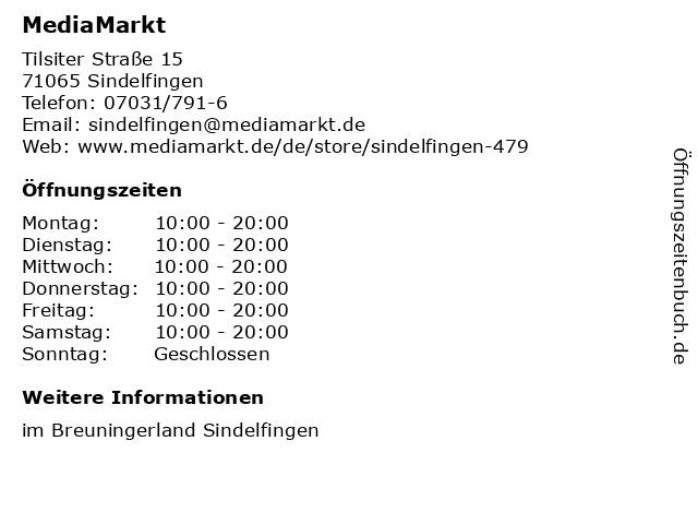 Media Markt in Sindelfingen: Adresse und Öffnungszeiten