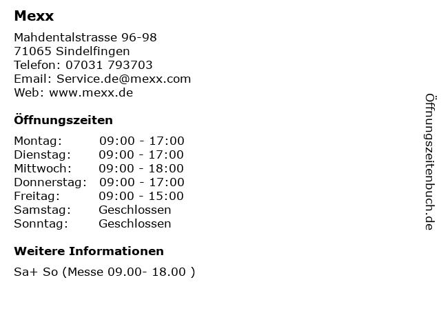 Mexx in Sindelfingen: Adresse und Öffnungszeiten