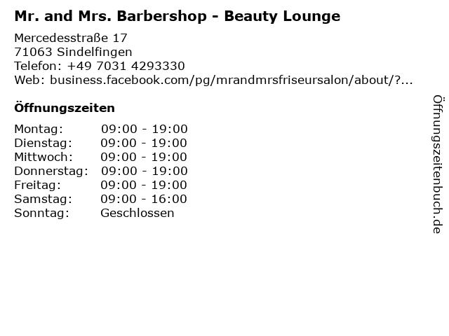 Mr. and Mrs. Barbershop - Beauty Lounge in Sindelfingen: Adresse und Öffnungszeiten