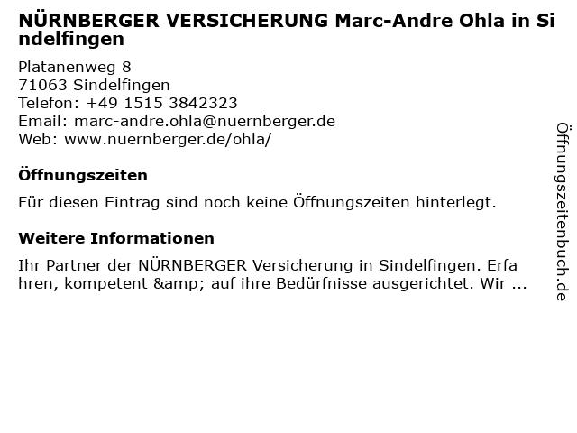 NÜRNBERGER VERSICHERUNG Marc-Andre Ohla in Sindelfingen in Sindelfingen: Adresse und Öffnungszeiten