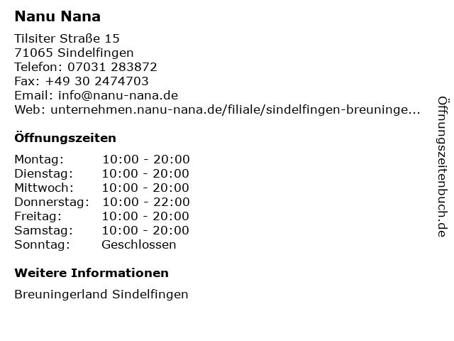 Nanu Nana in Sindelfingen: Adresse und Öffnungszeiten