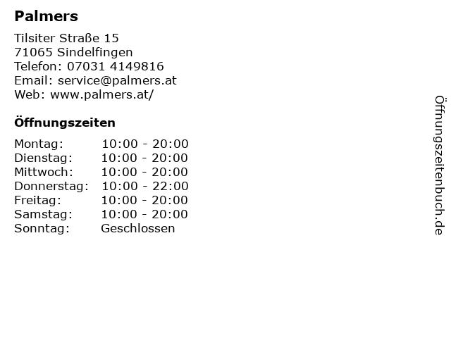 Palmers in Sindelfingen: Adresse und Öffnungszeiten