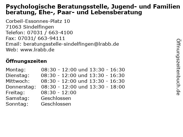 Psychologische Beratungsstelle, Jugend- und Familienberatung, Ehe-, Paar- und Lebensberatung in Sindelfingen: Adresse und Öffnungszeiten