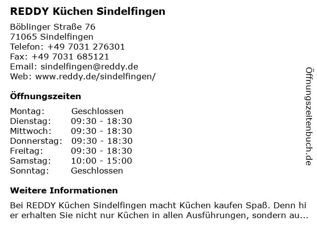 ᐅ Öffnungszeiten REDDY Küchen Sindelfingen | Böblinger Straße 76 in ...