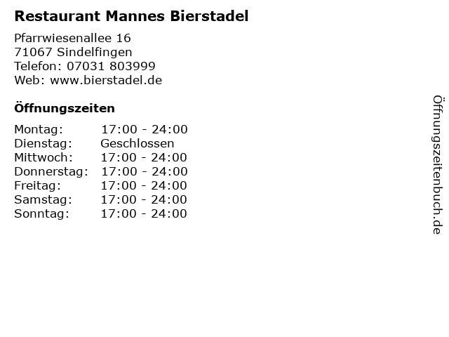 Restaurant Mannes Bierstadel in Sindelfingen: Adresse und Öffnungszeiten
