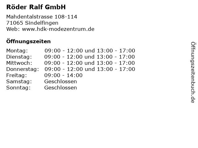 Röder Ralf GmbH in Sindelfingen: Adresse und Öffnungszeiten
