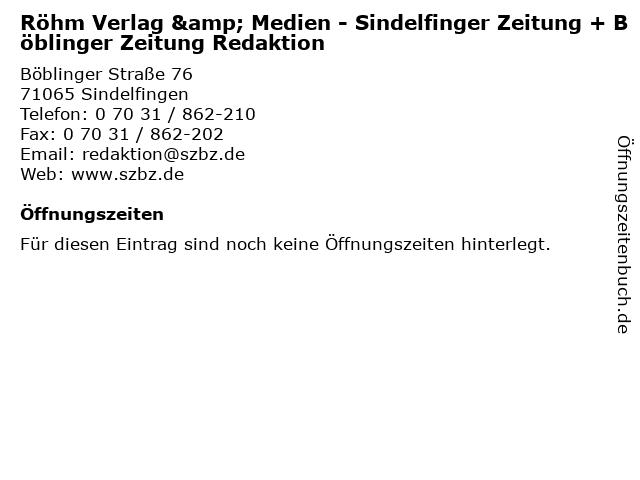 Röhm Verlag & Medien - Sindelfinger Zeitung + Böblinger Zeitung Redaktion in Sindelfingen: Adresse und Öffnungszeiten