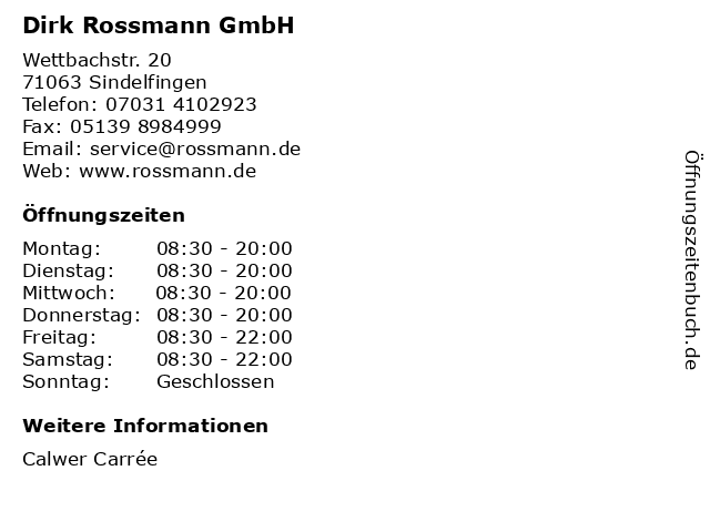 Rossmann in Sindelfingen: Adresse und Öffnungszeiten