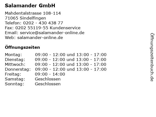 Salamander GmbH in Sindelfingen: Adresse und Öffnungszeiten