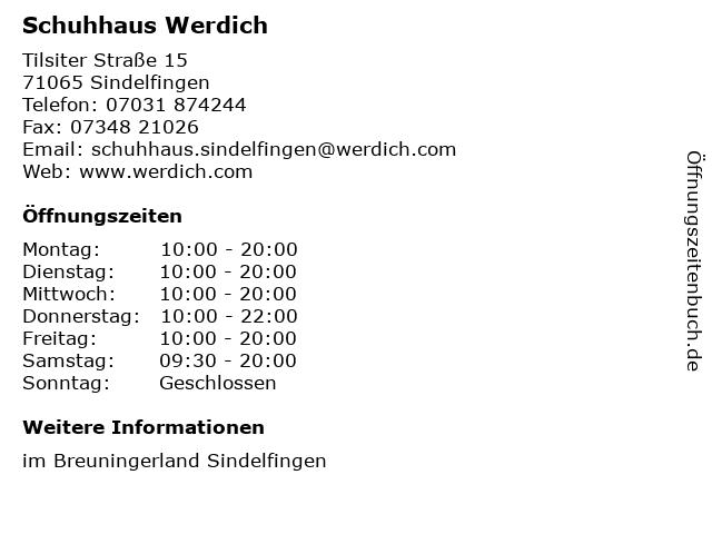 Schuhhaus Werdich in Sindelfingen: Adresse und Öffnungszeiten