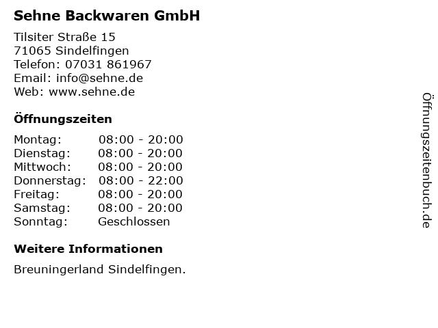Sehne Backwaren GmbH in Sindelfingen: Adresse und Öffnungszeiten