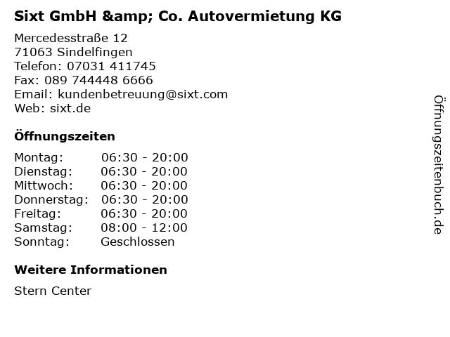 Sixt GmbH & Co. Autovermietung KG in Sindelfingen: Adresse und Öffnungszeiten