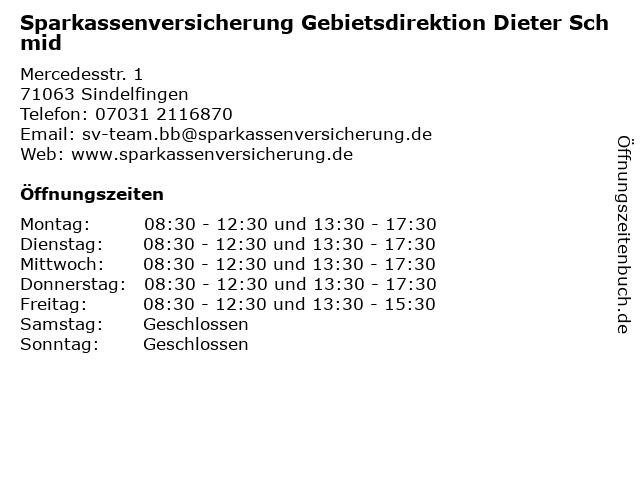 Sparkassenversicherung Gebietsdirektion Dieter Schmid in Sindelfingen: Adresse und Öffnungszeiten