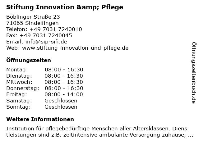 Stiftung Innovation & Pflege in Sindelfingen: Adresse und Öffnungszeiten