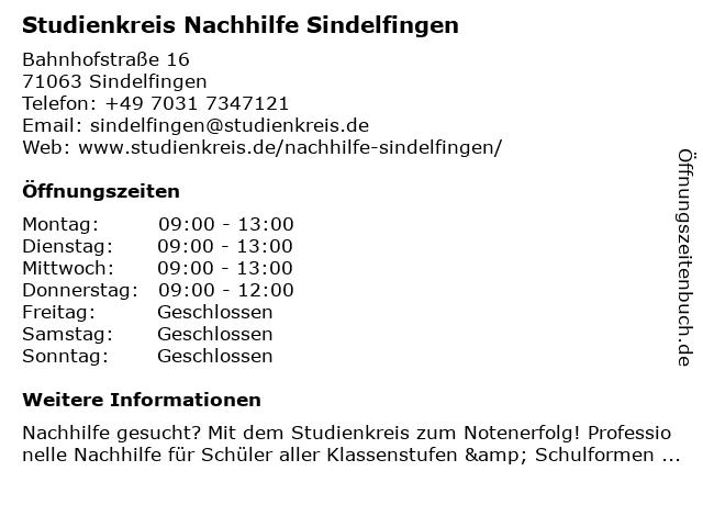 Studienkreis Nachhilfe Sindelfingen in Sindelfingen: Adresse und Öffnungszeiten
