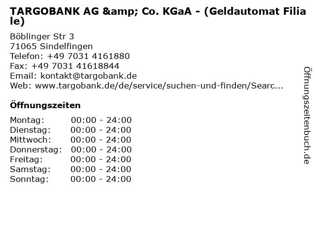 TARGOBANK AG & Co. KGaA - (Geldautomat Filiale) in Sindelfingen: Adresse und Öffnungszeiten