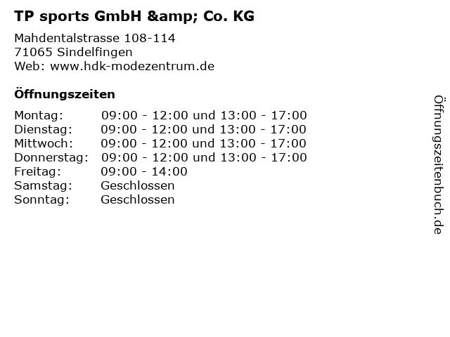 TP sports GmbH & Co. KG in Sindelfingen: Adresse und Öffnungszeiten