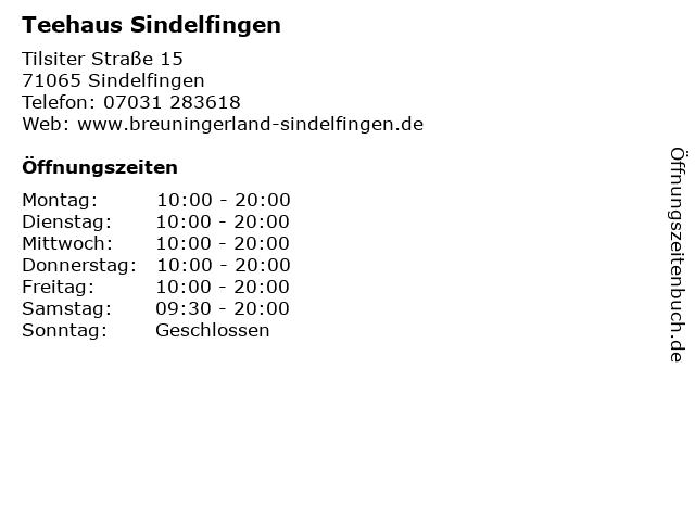 Teehaus Sindelfingen in Sindelfingen: Adresse und Öffnungszeiten