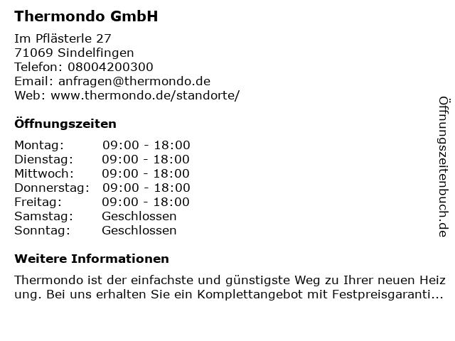 Thermondo GmbH in Sindelfingen: Adresse und Öffnungszeiten