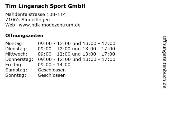 Tim Lingansch Sport GmbH in Sindelfingen: Adresse und Öffnungszeiten