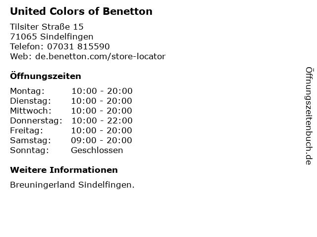 United Colors of Benetton in Sindelfingen: Adresse und Öffnungszeiten
