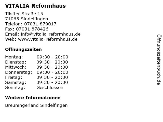 VITALIA GmbH in Sindelfingen: Adresse und Öffnungszeiten
