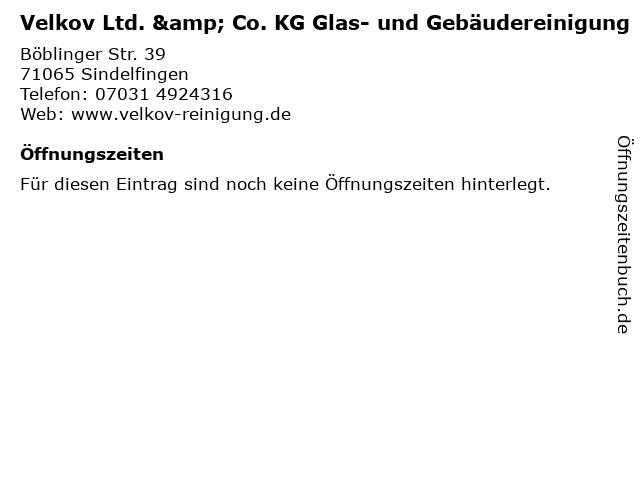 Velkov Ltd. & Co. KG Glas- und Gebäudereinigung in Sindelfingen: Adresse und Öffnungszeiten