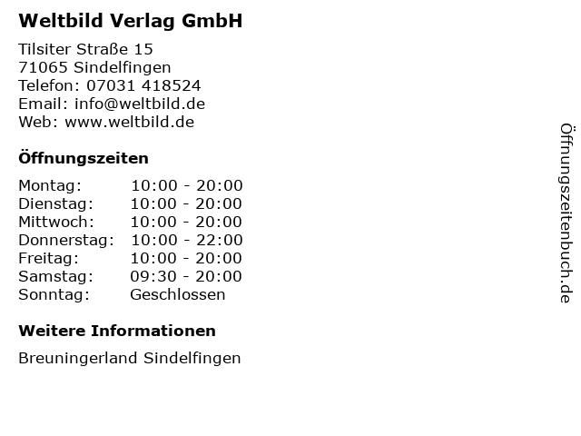 Weltbild Verlag GmbH in Sindelfingen: Adresse und Öffnungszeiten