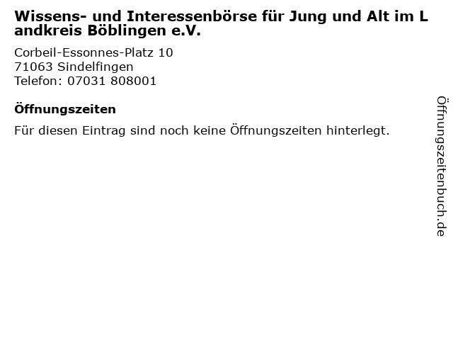 Wissens- und Interessenbörse für Jung und Alt im Landkreis Böblingen e.V. in Sindelfingen: Adresse und Öffnungszeiten