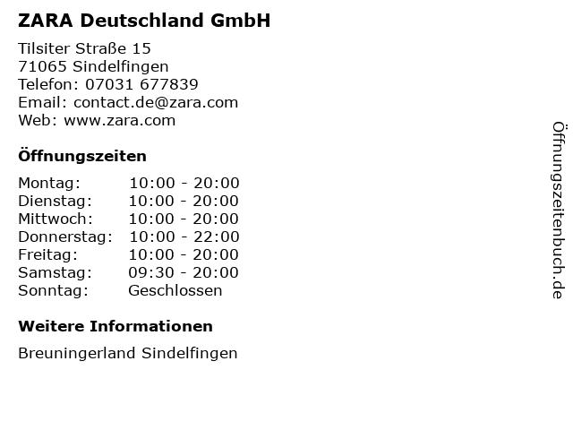 ZARA Deutschland GmbH in Sindelfingen: Adresse und Öffnungszeiten