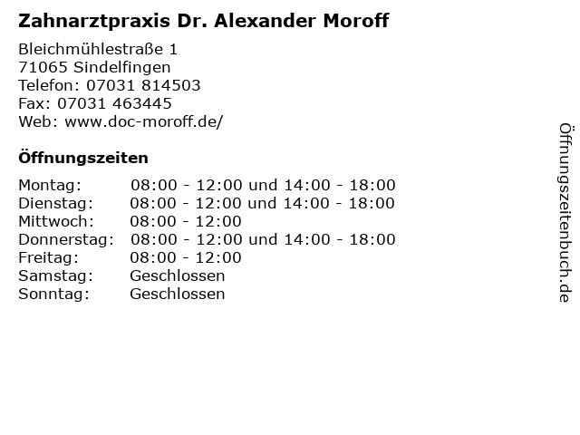 Zahnarztpraxis Dr. Alexander Moroff in Sindelfingen: Adresse und Öffnungszeiten