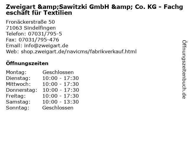 Zweigart &Sawitzki GmbH & Co. KG - Fachgeschäft für Textilien in Sindelfingen: Adresse und Öffnungszeiten