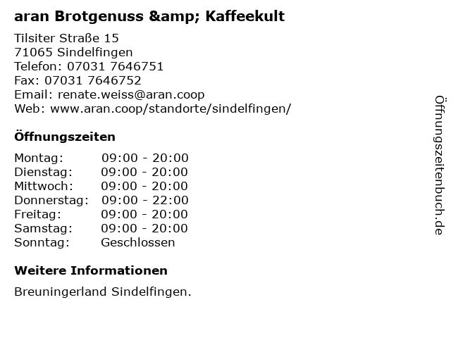 aran Brotgenuss & Kaffeekult in Sindelfingen: Adresse und Öffnungszeiten