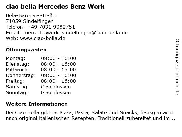 ciao bella Mercedes Benz Werk in Sindelfingen: Adresse und Öffnungszeiten
