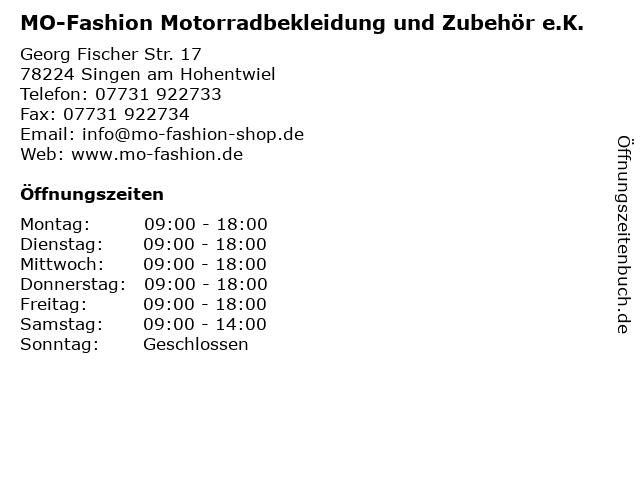 MO-Fashion Motorradbekleidung und Zubehör e.K. in Singen am Hohentwiel: Adresse und Öffnungszeiten