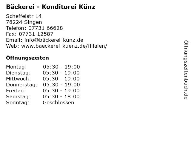 Bäckerei - Konditorei Künz in Singen: Adresse und Öffnungszeiten