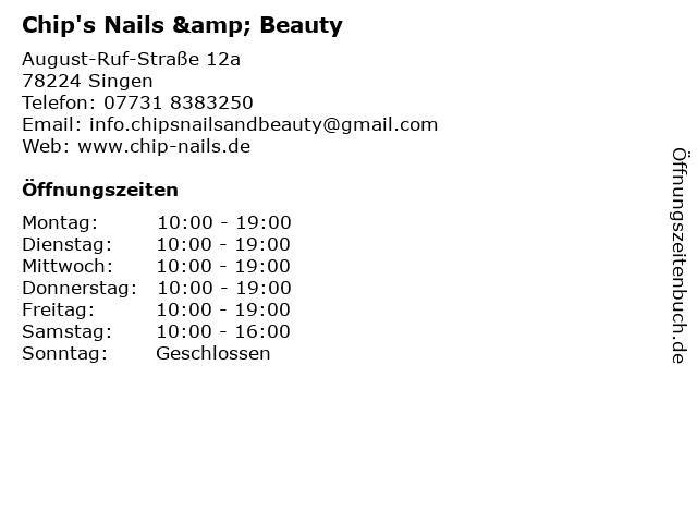 Chip's Nails & Beauty in Singen: Adresse und Öffnungszeiten