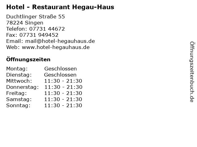 Hotel - Restaurant Hegau-Haus in Singen: Adresse und Öffnungszeiten