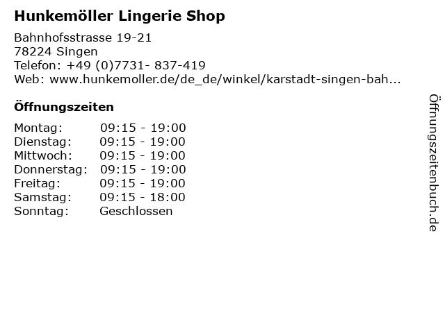 Hunkemöller Lingerie Shop in Singen: Adresse und Öffnungszeiten