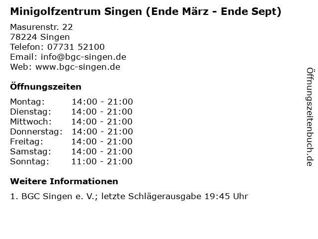 Minigolfzentrum Singen (Ende März - Ende Sept) in Singen: Adresse und Öffnungszeiten