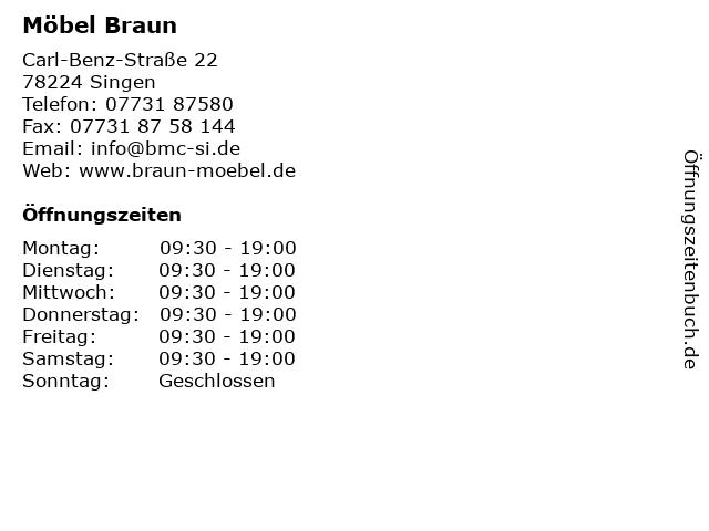 ᐅ öffnungszeiten Möbel Braun Carl Benz Straße 22 In Singen