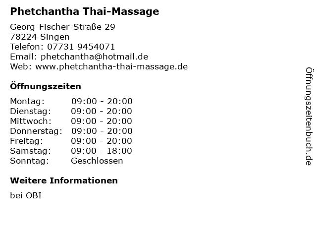 Phetchantha Thai-Massage in Singen: Adresse und Öffnungszeiten