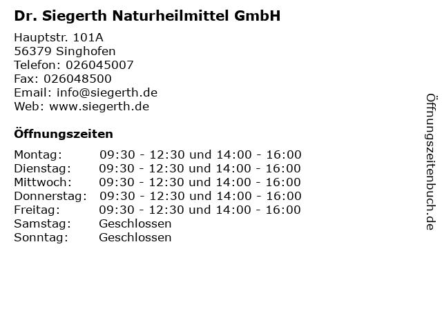 Dr. Siegerth Naturheilmittel GmbH in Singhofen: Adresse und Öffnungszeiten